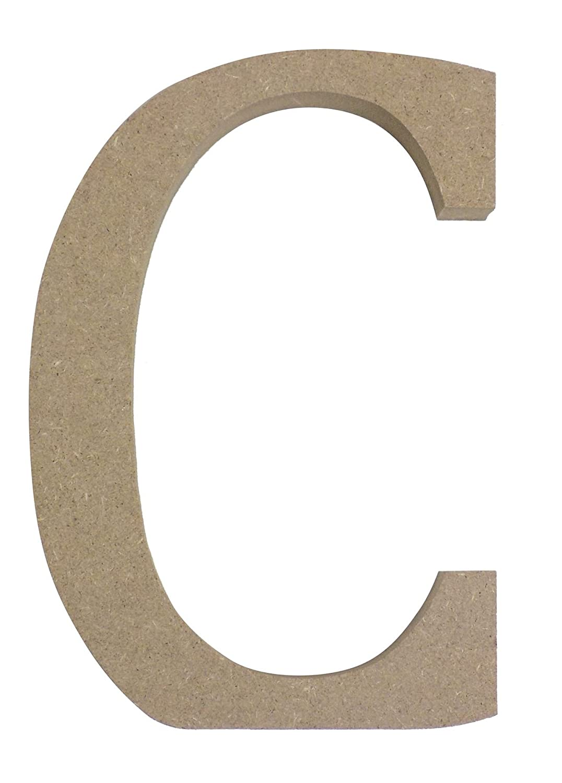 BEIGE FREE STANDING LETTER C UPPER CASE WOODEN MDF H13CM X W9CM X D2CM Wooden Letters