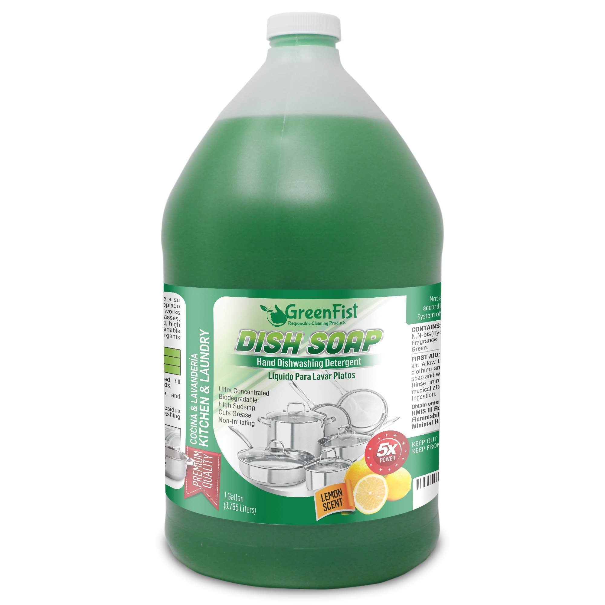 GreenFist Hand Dish Detergent Soap - Professional Kitchen Pot & Pan Wash Liquid Cleaner [Concentrated] - Non Toxic, Light or Heavy Use, Lemon Scent }, 128 ounce (1 Gallon)