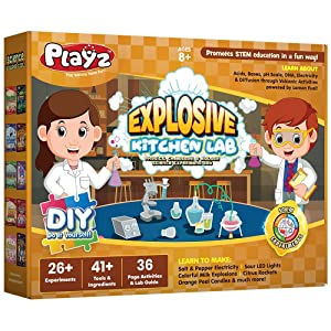 Playz Explosive Kitchen Lab 26+ Physics, Chemistry & Biology Science Experiments Set - Make Salt & Pepper Electricity, Sour LED Lights, Colorful Milk Explosions, Citrus Rockets, & Orange Peel Candles