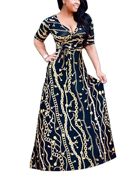 Mujer Vintage Vestido Fiesta Patrón Impresa Mangas Largas Noche Irregular Vestidos: Amazon.es: Ropa y accesorios