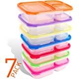 Bento Lunch Boxes for Kids & Adults - 7-Pack - Plastic Divided Box with 3 Compartments , Easy BPA Free , Leakproof , Reusable Food Storage Containers Set | Microwave , Dishwasher and Freezer Safe