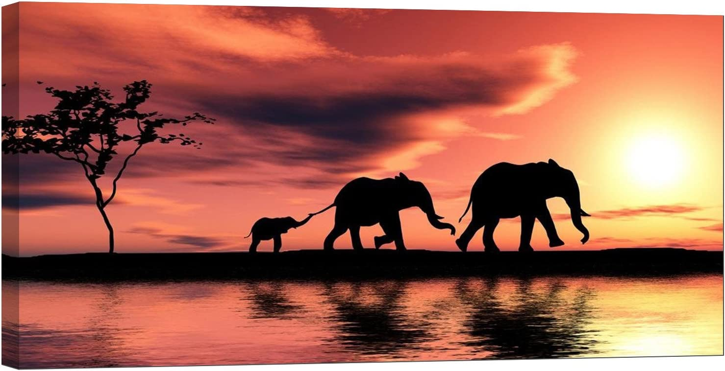 LightFairy Glow in The Dark Canvas Painting - Stretched and Framed Giclee Wall Art Print - Animals Nature Family of Elephants - Master Bedroom Living Room Large Décor - 46 x 24 inch