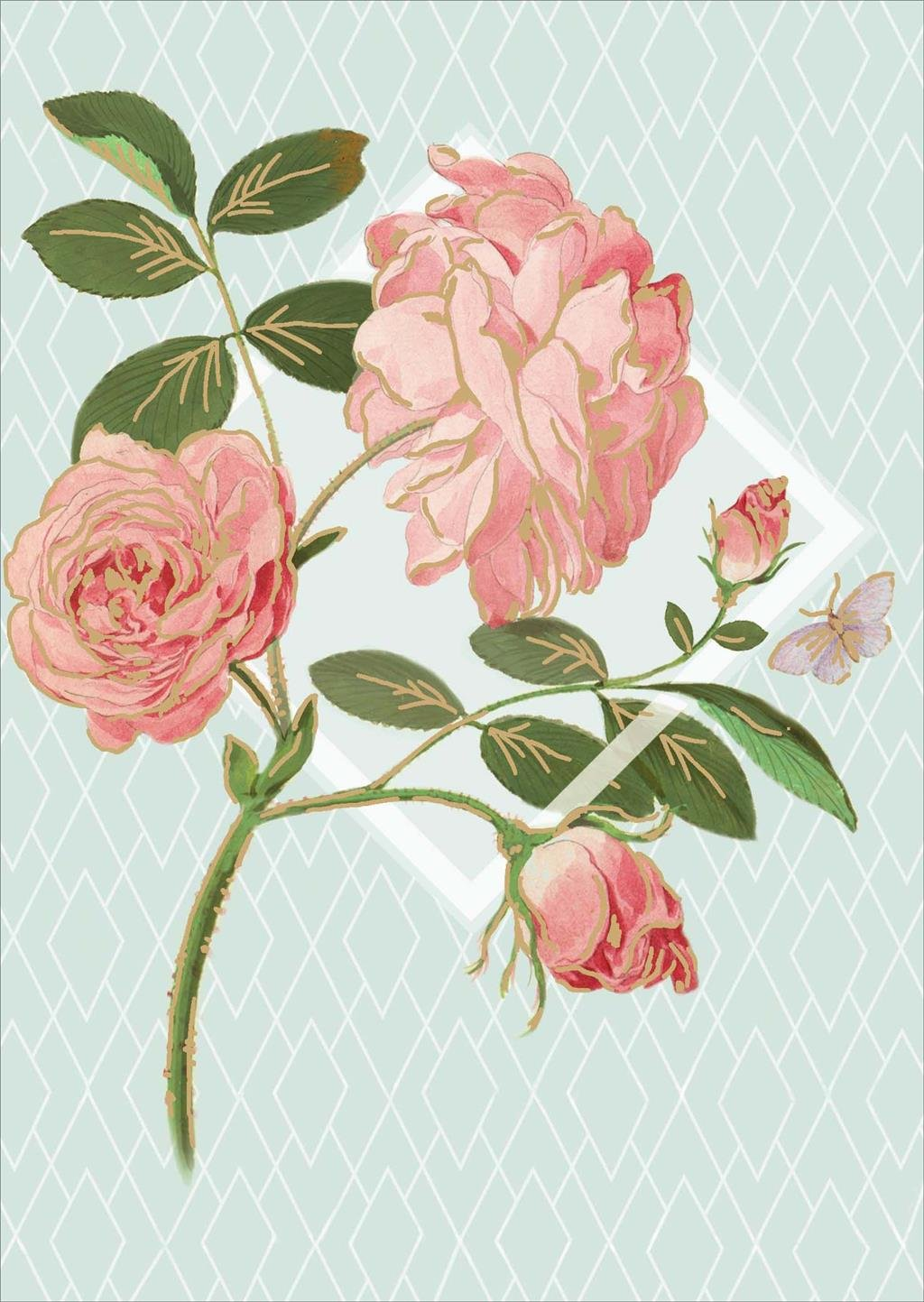 Royal Horticultural Society ? Floral Rose ? Beautiful Blank Greeting Card UK Greetings