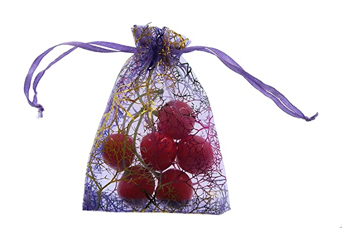 SumDirect 100Pcs 3.5X4.7 Inches Coralline Pattern Drawstring Organza Jewelry Pouches Wedding Party Christmas Favor Gift Bags (Light Purple)