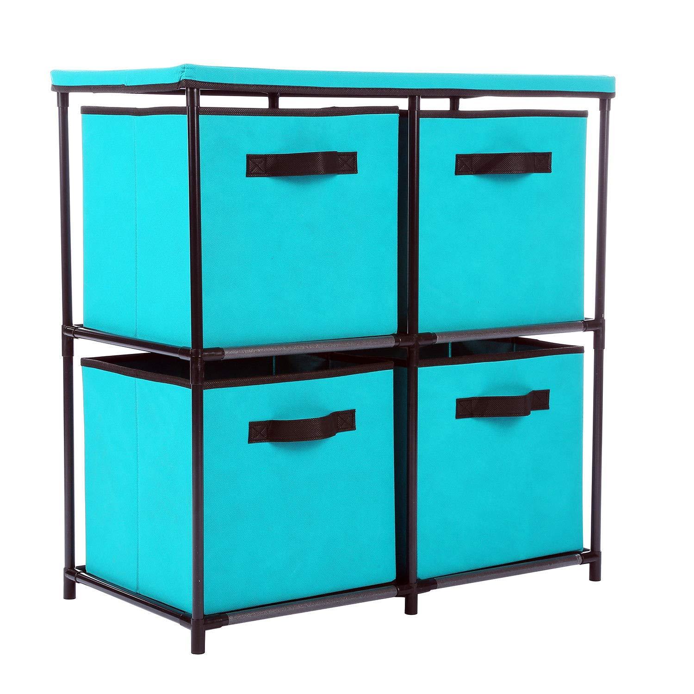 Alitop 4-Drawer Storage Chest Shelf Unit Storage Cabinet Bins Organizer in Turquoise