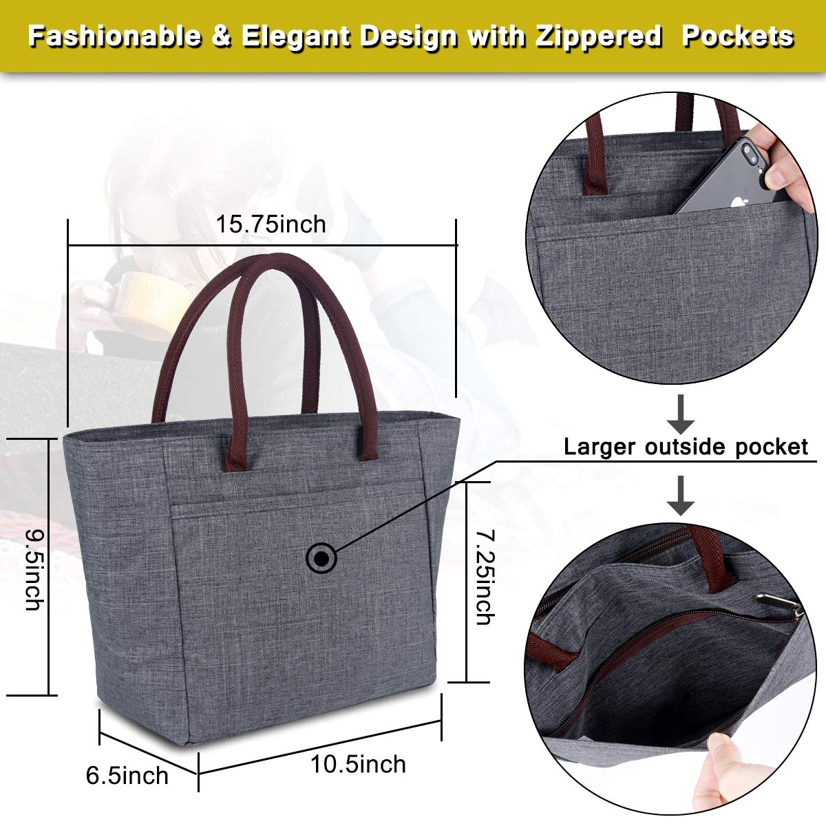 BALORAY Insulated Lunch Bag Leak-proof Cooler Bag lunch bag for Women Lunch Tote Bag For Kids & Adults (G-215 Grey) by BALORAY (Image #4)