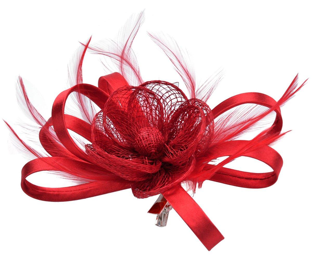 Fascigirl Pillbox Hat Feather Flower Headpiece Wedding Fascinator Corsage Brooch Pin Hair Clip for Ladies Day VVG092950HPVVJ733