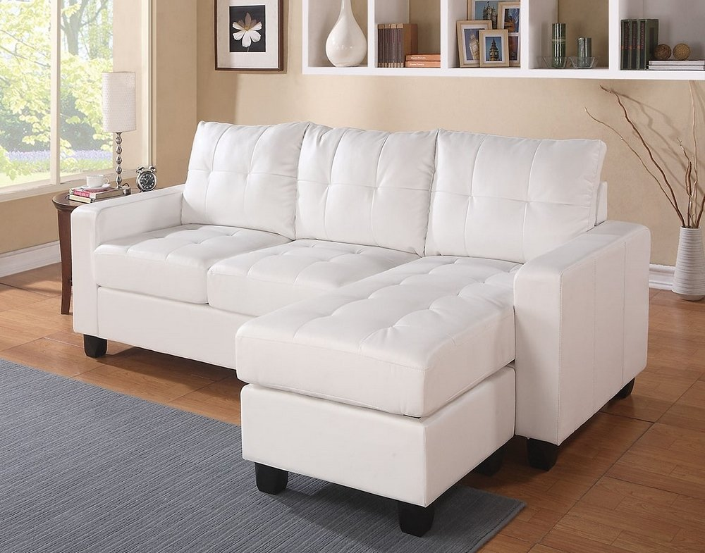 Enjoyable Acme Lyssa White Bonded Leather Sectional Sofa With Reversible Chaise And Ottoman Gmtry Best Dining Table And Chair Ideas Images Gmtryco