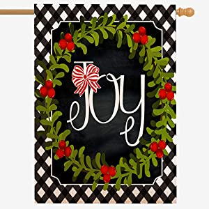 ZUEXT Christmas Joy Wreath Farmhouse Garden Flag 28 x 40 Inch, Rustic Welcome Quote House Yard Flag, Outside Holiday Garden Yard Decoration, Cotton Linen Seasonal Outdoor House Flags Double Sided