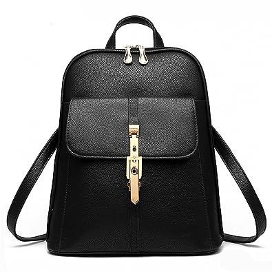 9faec19a80488 Hynbase Women Fashion Cute Korean Leisure PU Leather Backpack Shoulder Bag  Black