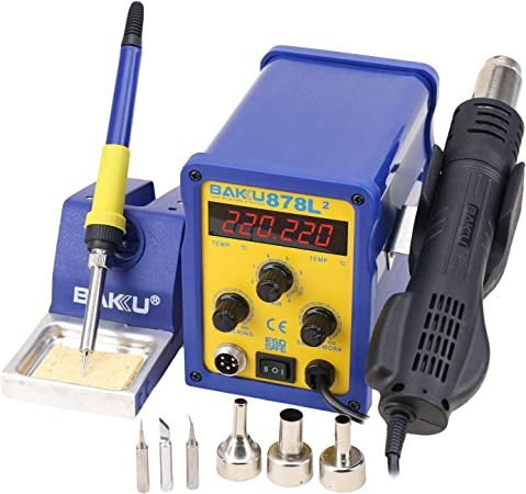 BK-878L2 700W 220V  2 in 1 Rework Station Soldering Iron and Hot Air Tool LED