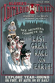 product image for Alaska - Iditarod Trail Vintage Sign 42379 (24x36 Signed Print Master Art Print - Wall Decor Poster)
