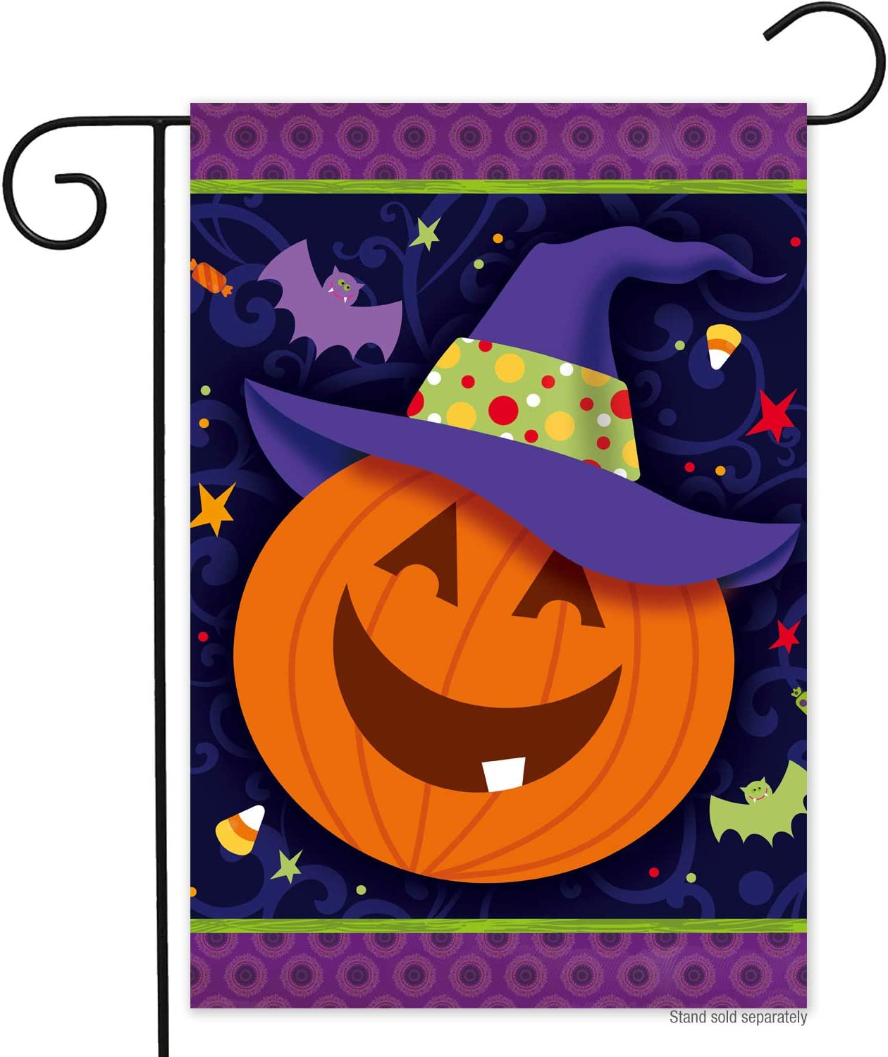 N/P Fall Happy Halloween Pumpkin Garden Flag 12x18- Double Sided Smiley Pumpkin Lantern Yard Flags Banner Vivid Colors Weather Resistant Halloween Garden Decorations Farmhouse