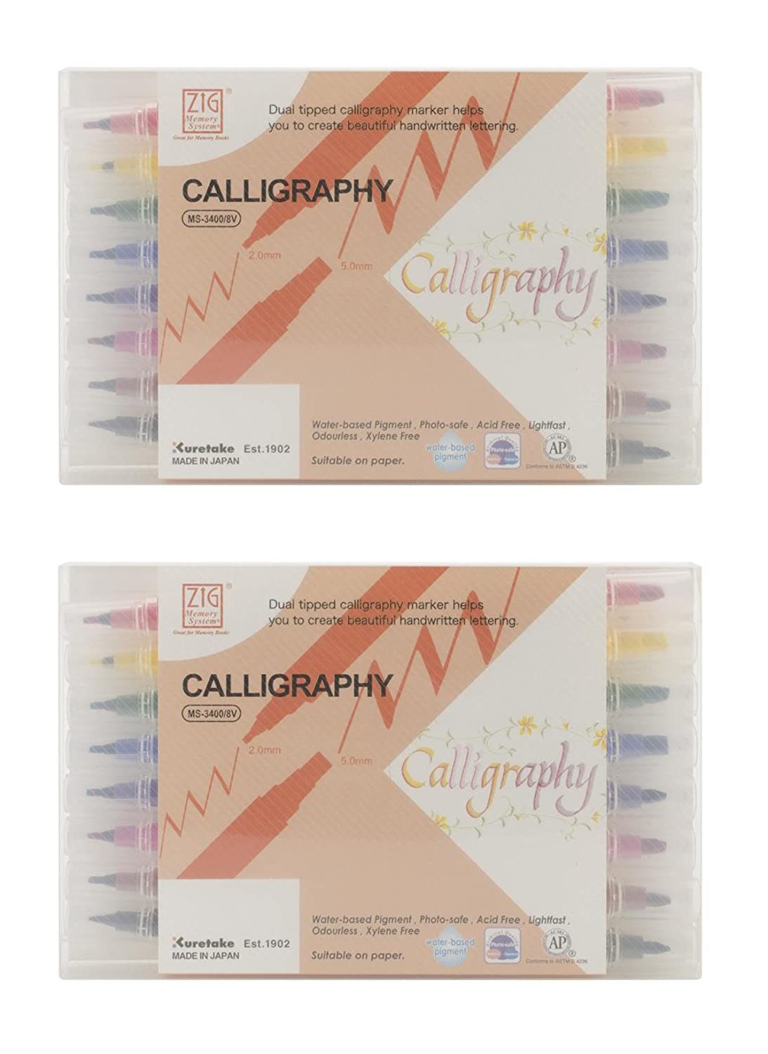 Zig MS34008V Memory System Calligraphy Markers, Multicolor, 8-Pack