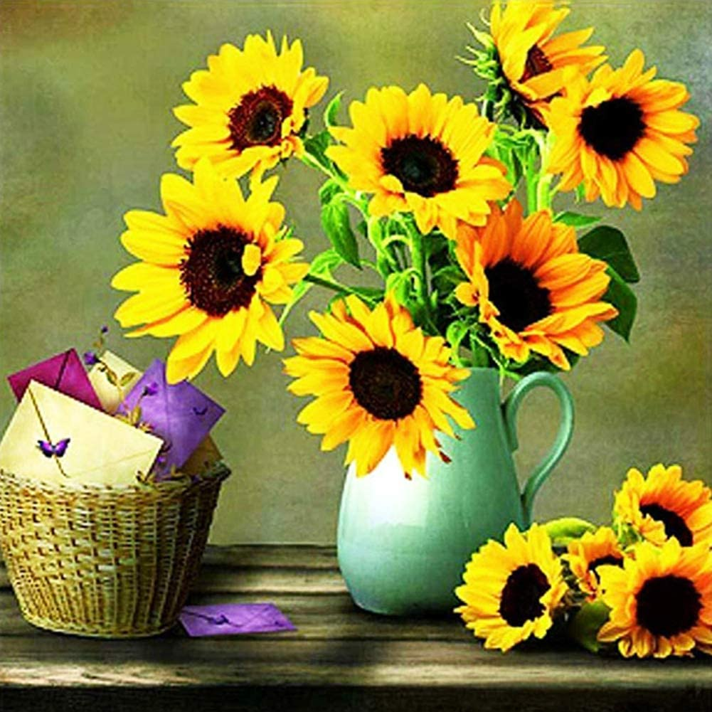 5D Diamond Painting Kits for Adults 40x40cm Full Drill Round Big Size DIY Diamonds Paintings Sunflower in Vase Rhinestones Dots Beads Crafts Home Wall Arts Decor 16x16 Inch