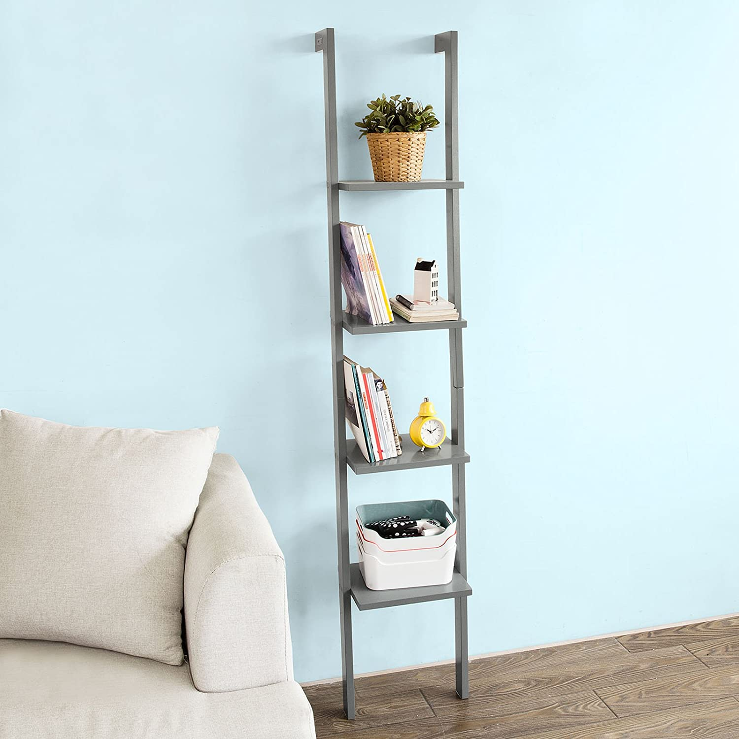 so modern ladder bookcase made of wood with four