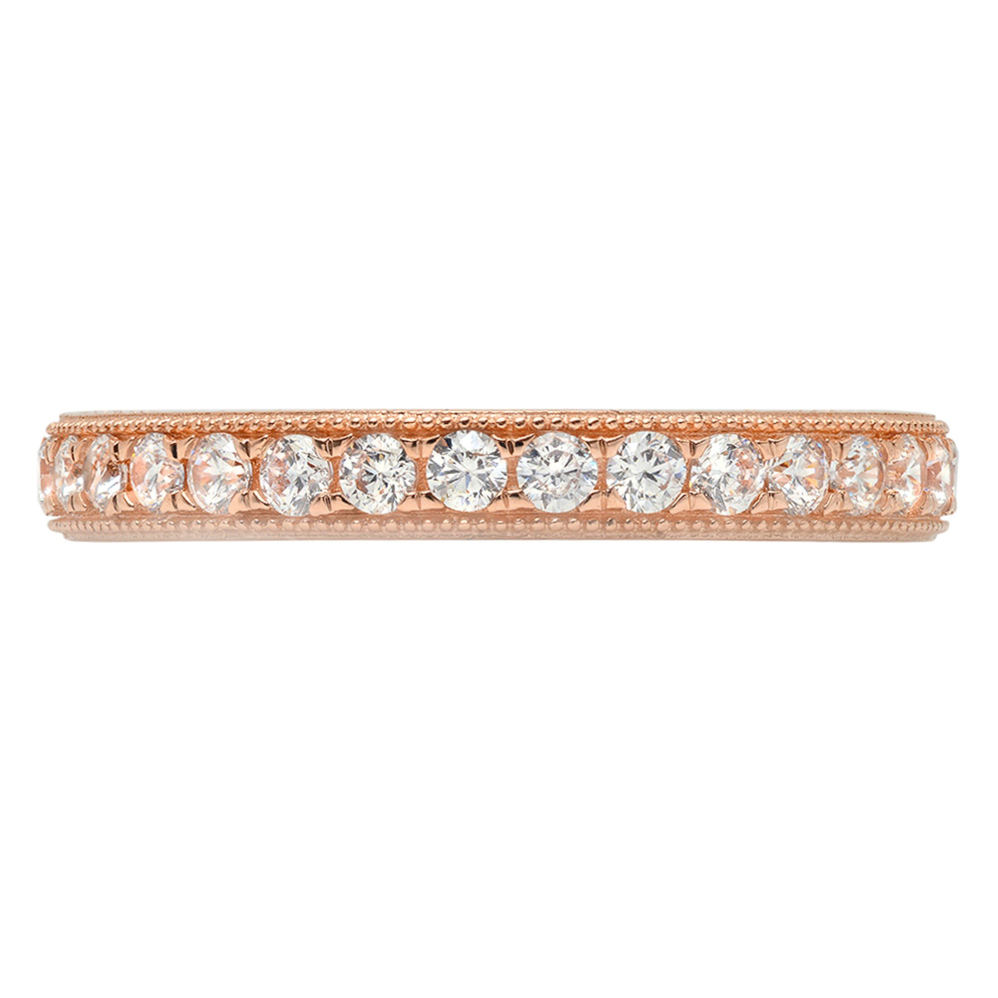 1.1ct Brilliant Round Cut Designer Pave Statement Solitaire Stacking Band 14k Rose Gold, 6.5, Clara Pucci