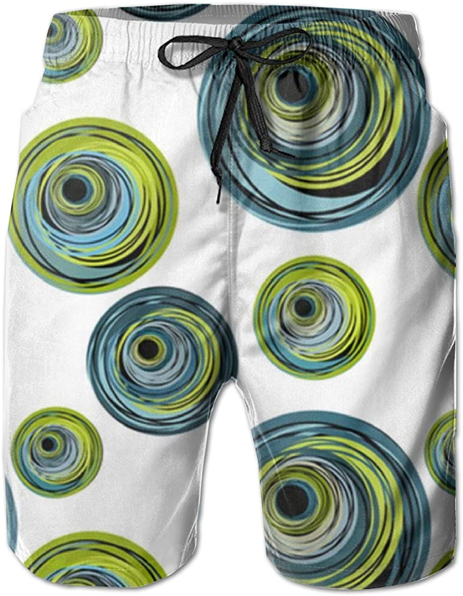 ZORITO Mens Swim Shorts Quick Dry Swim Trunks Peacock Blue and Green Circle Swirls Mens Bathing Suits with Mesh Lining