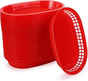 Cedilis 40 Pack Fast Food Baskets, Red Plastic Baskets for Hot Dogs, Burgers, Sandwiches and Fries, Dishwasher safe and Microwavable, 10.5 x 7 Inch