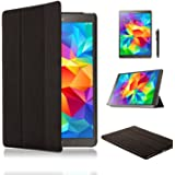 SAMAR® - Supreme Quality New Samsung Galaxy Tab S 8.4 inch Tablet (Released July 2014) Ultra Slim Black Case Cover Stand + [FREE HD Screen-Protector with cleaning cloth] [FREE Stylus] for Samsung Galaxy Tab S 8.4
