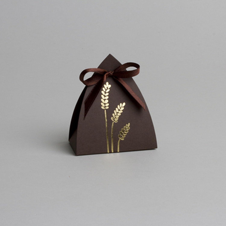 D& Y Ballotins à dragées Communion- boites à dragées Forme vitrail Chocolat épis Impression Or x5 Y&D