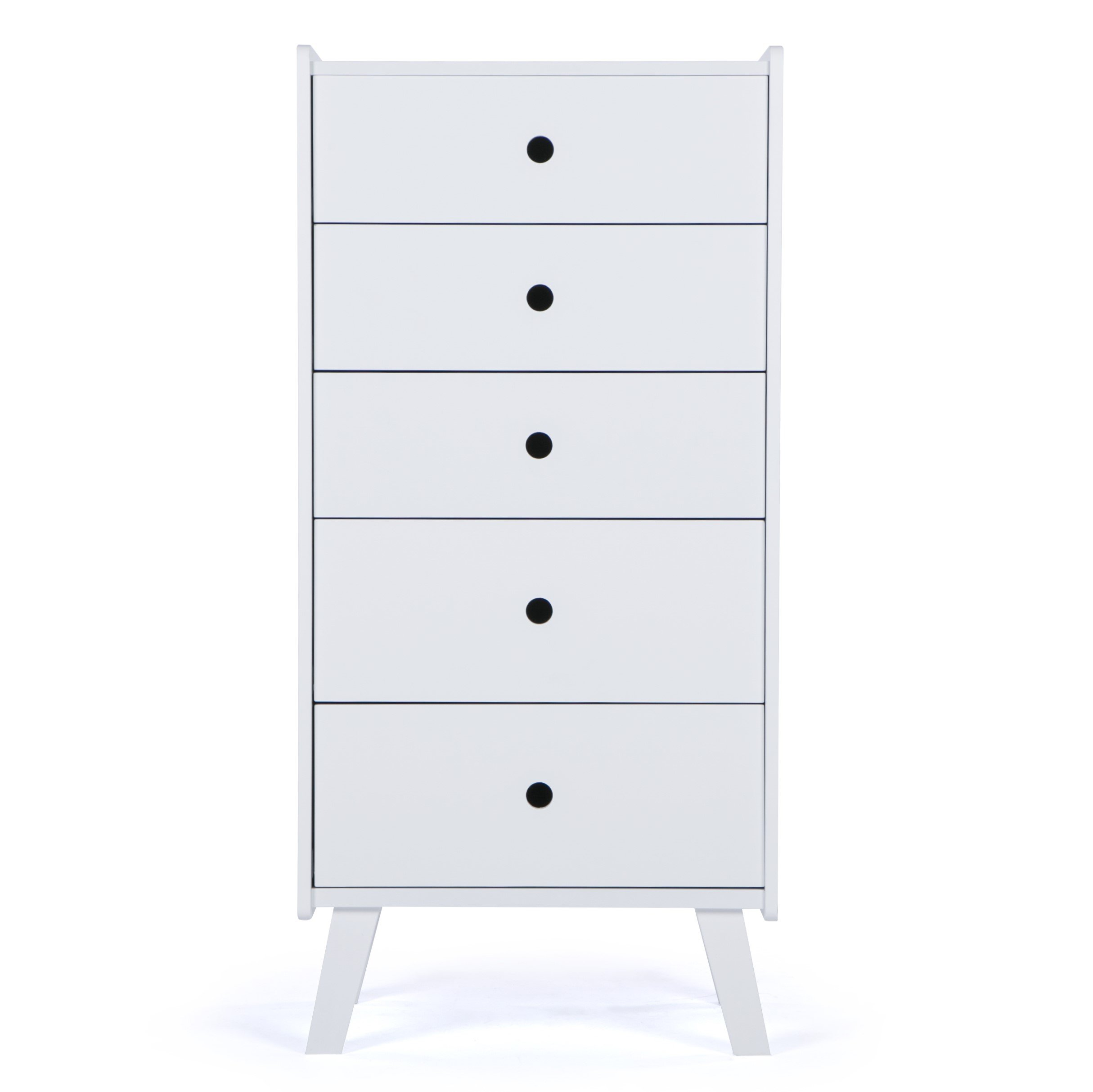 LUCKUP 5 Drawer Tall Chest,Bedroom Wooden Simple and Stylish Furniture,chest,White
