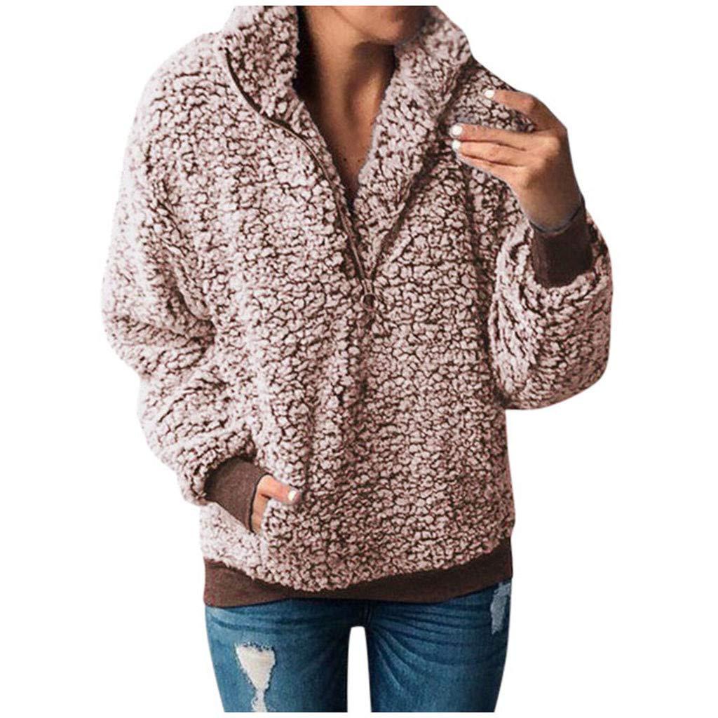 Opinionated Women's Casual Sherpa Fleece Pullover 1/4 Zipper Long Sleeve Collar Outwear Jacket Coat Khaki by Opinionated