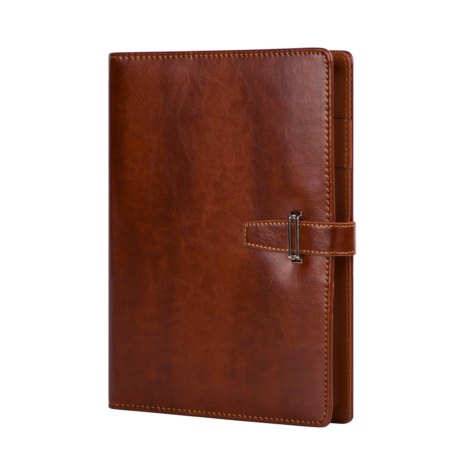 Leather Journal Organizer Planner Office Writing Composition Notebook Refillable Diary a5 Spiral Binder Diary Journal Brown