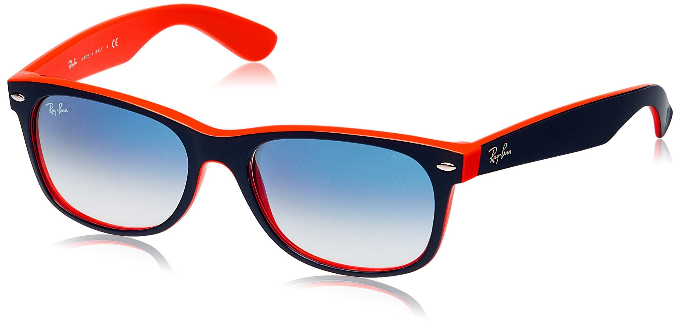 RAY-BAN RB2132 New Wayfarer Sunglasses, Blue & Orange/Blue Gradient, 55 mm by RAY-BAN