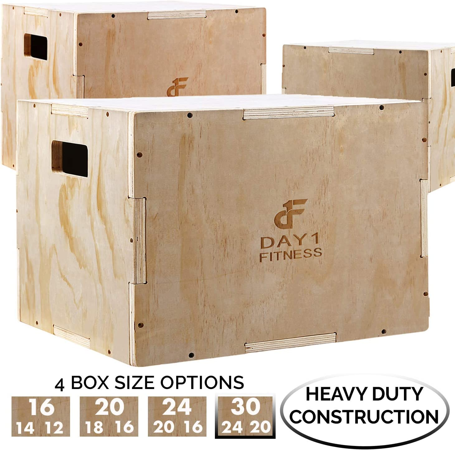 Wood Plyometric Box by Day 1 Fitness – 4 SIZE OPTIONS 16x14x12, 20x18x16, 24x20x16, OR 30x24x20 – 3-in-1, for Crossfit Training, Jumps – Heavy-Duty, Non-Slip Plyo Boxes, Rounded Corners for Safety