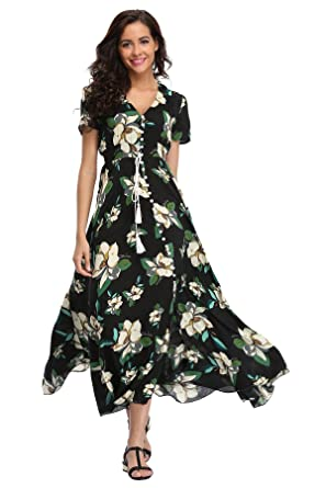 58803d3140aa Image Unavailable. Image not available for. Color: Ferrendo Summer Women's  Floral Maxi Dress Button Up Split Flowy Bohemian ...