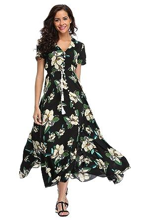 d516b14557417 Ferrendo Summer Womens Floral Maxi Dress Button Up Split Flowy Bohemian  Party Beach Dress