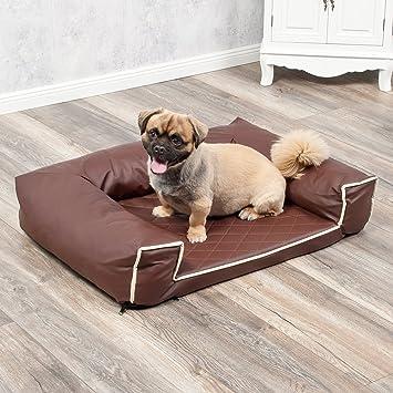 Cama para perros Lounge 80 x 60 cm Marrón Piel Sintética Perros sofá mascota Animales cama: Amazon.es: Productos para mascotas