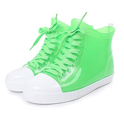 Luise Hoger New Fashion Women Lace-Up Rain Boots Female Non-Slip Ankle Rainboots Candy Colors Woman Water Shoes Pvc Bright Green 8.5