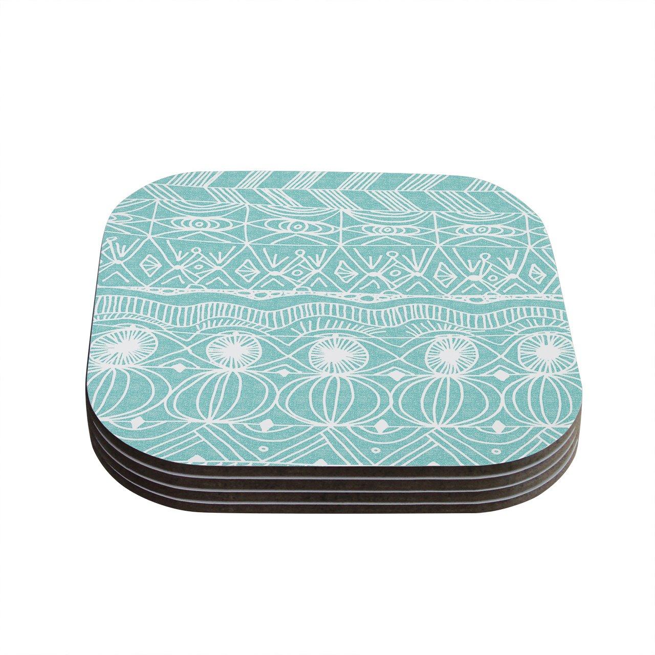 Kess InHouse Catherine Holcombe''Beach Blanket Bingo'' Coasters, 4 by 4-Inch, Teal/White, Set of 4