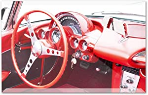 Interior of a Classic Red Corvette with Steering Wheel & Dashboard A-9011697 (12x8 Acrylic Photo Block Gallery Quality)