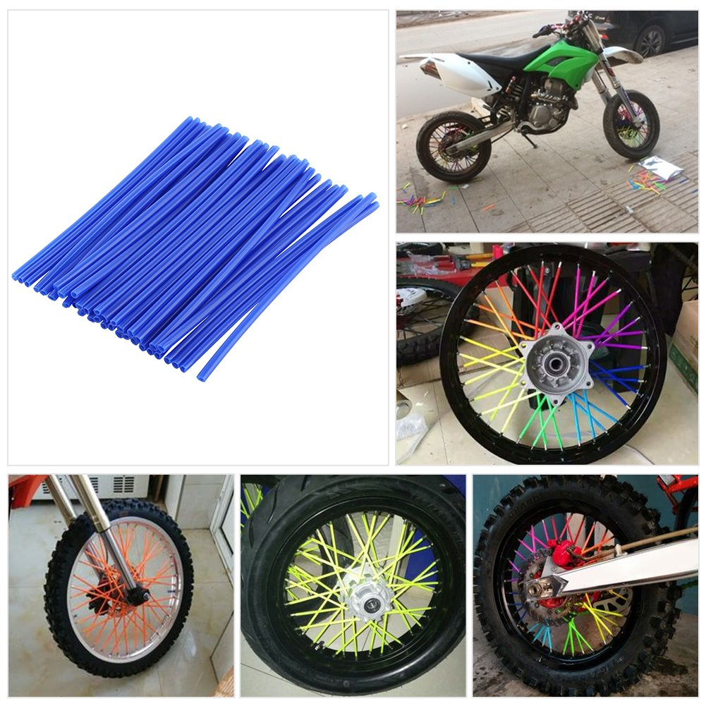 Qiilu 36pcs Wheel Spoke Protector Motocross Rims Skins Covers Off Road Motorcycle Guard Wraps Kit Fluorescent Yellow
