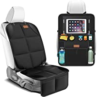 Smart elf Car Seat Protector Set with iPad and Tablet Holder Kick Mat Cover, Universal Stain Resistant Protective Baby…