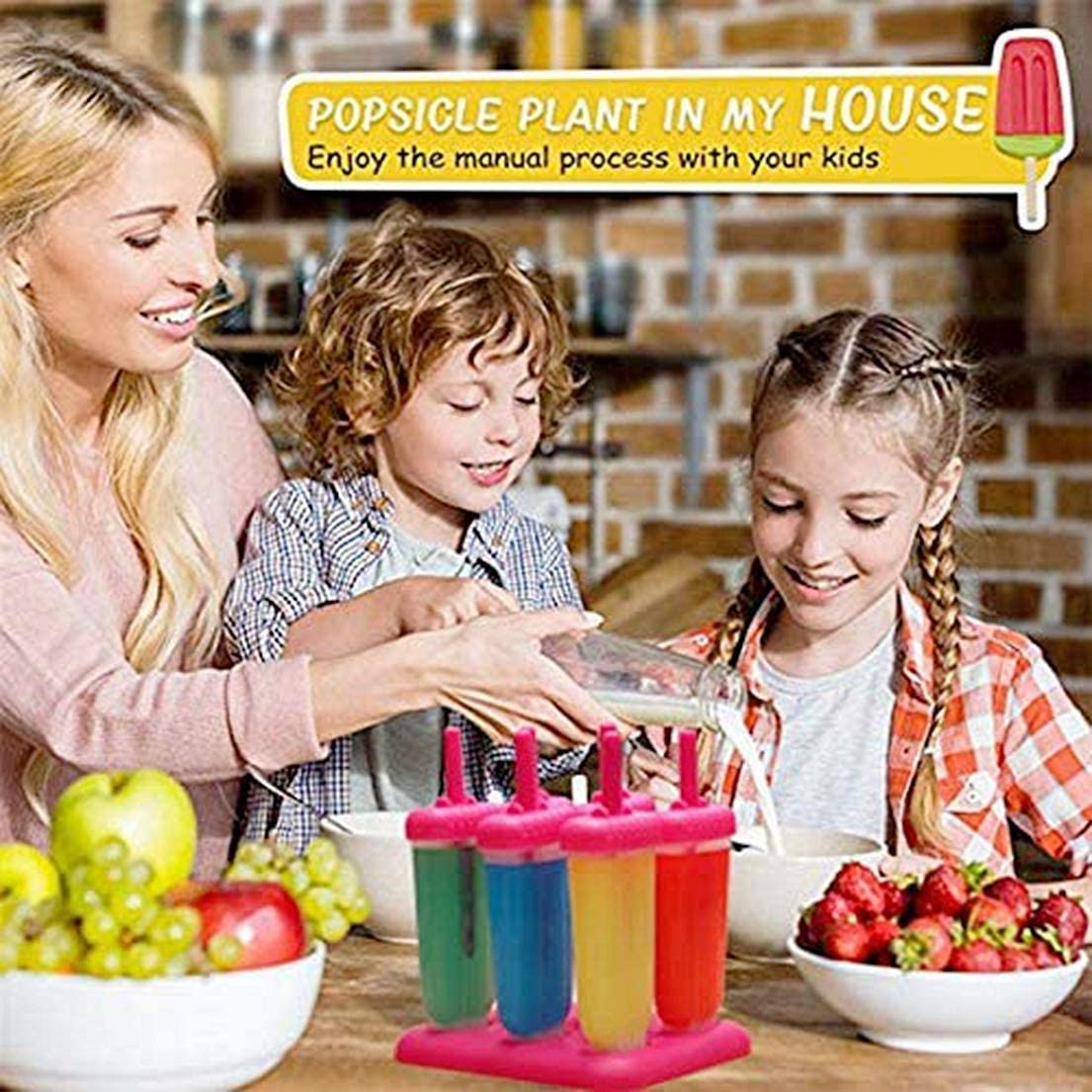 6pcs Popsicle Maker Set moules de moule avec couvercle anti-d/éversement r/éutilisable enfants adultes bricolage Popsicle rouge