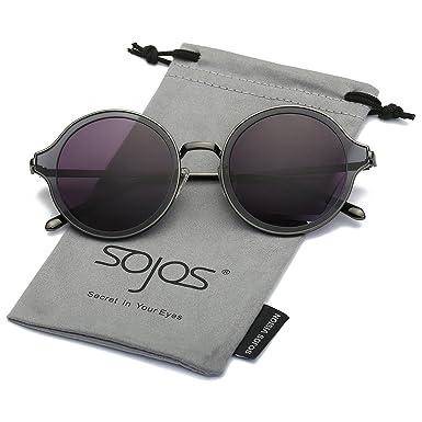 66d145b8790 SOJOS Polarised Round Sunglasses Stylish Metal Frame Women Mens Sun Glasses  SJ1058 with Sliver Frame