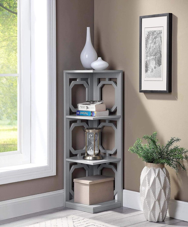 Convenience Concepts Omega 3 Tier Corner Bookcase, Gray