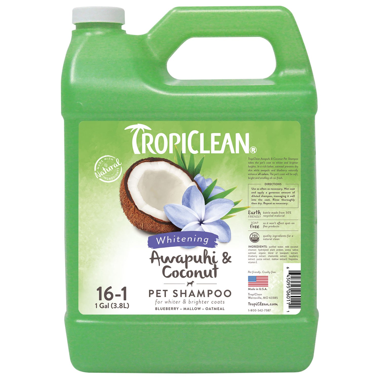 TropiClean Awapuhi & Coconut Whitening Pet Shampoo, 1 Gallon