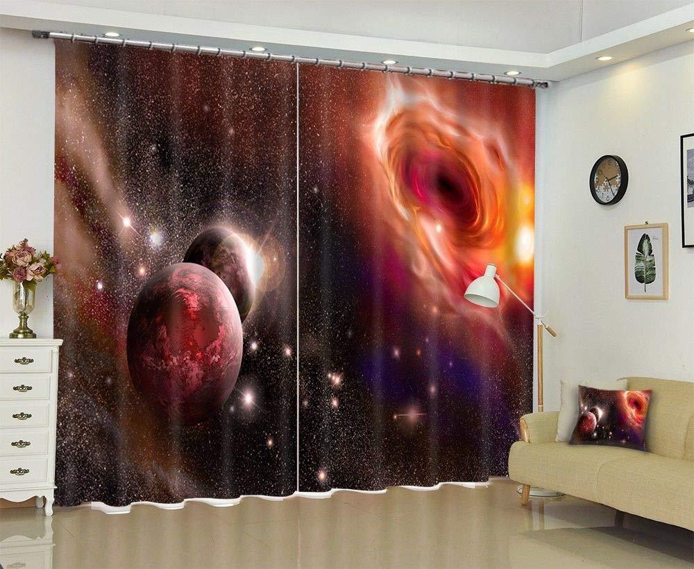 FidgetGear 3Dスペースギャラクシー地球の星模様の印刷窓のカーテンの封鎖生地新しい 118X106 ''(300X270CM) 118X106 ''(300X270CM)  B07Q46382Z