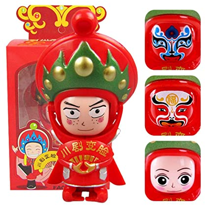 Vintage Tradition Chinese Opera Face Miniature Change Red Doll Figurine Toy