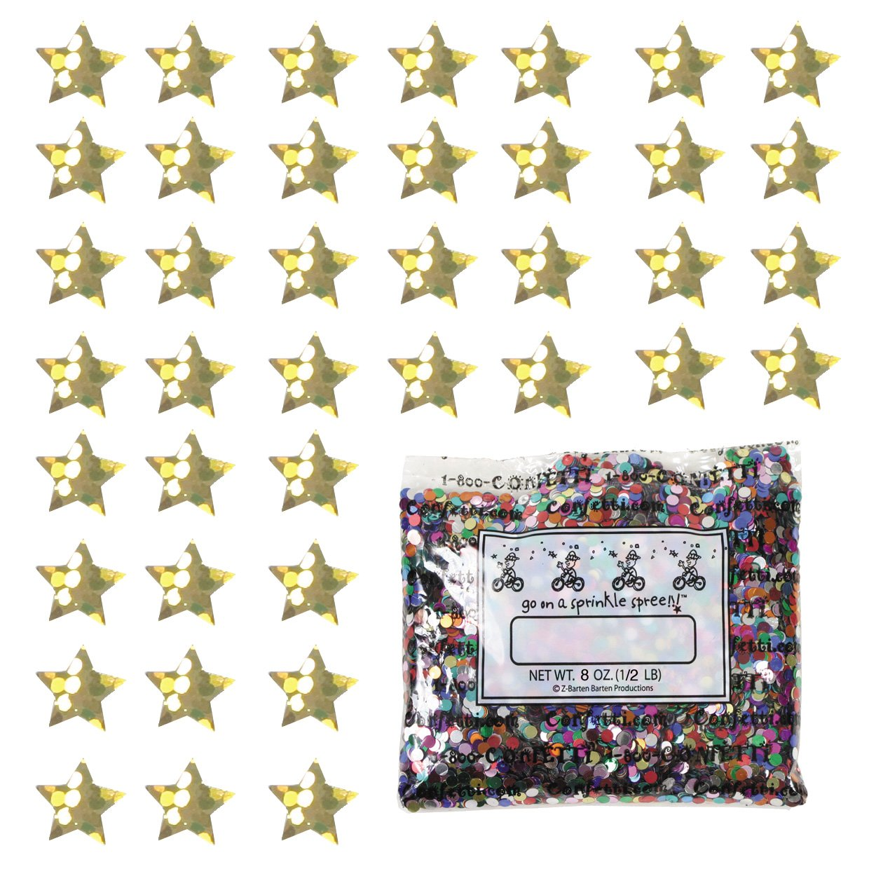 Confetti Star 1/4'' Prisma Gold - One Pound (16 oz) Free Priority Mail (9081)