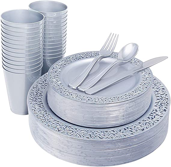 """IOOOOO 150 Pieces Gray Plastic Plates with Disposable Silverware & Gray Cups, Lace Design Includes 25 Dinner Plates 10.25"""", 25 Dessert Plates 7.5"""", 25 Forks, 25 Knives, 25 Spoons,25 Cups"""