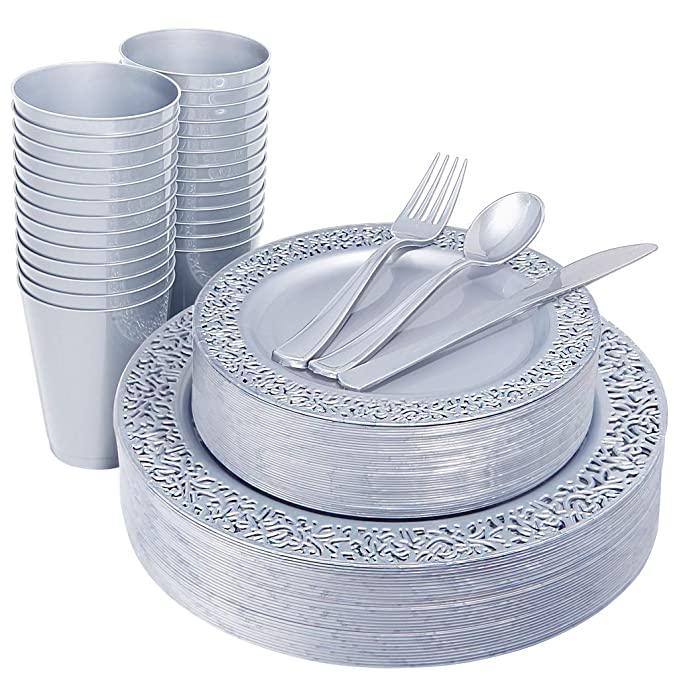 "IOOOOO 150 Pieces Silver Plastic Plates with Disposable Silverware & Silver Cups, Lace Design Includes 25 Dinner Plates 10.25"", 25 Dessert Plates 7.5"", 25 Forks, 25 Knives, 25 Spoons,25 Cups"