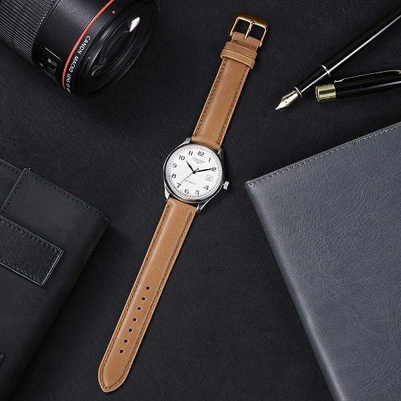 iStrap - Correa para reloj de pulsera (20 mm, piel de becerro), color marrón: Amazon.es: Relojes