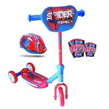 SPIDERMAN - Patinete 3 ruedas con casco y protecciones ...