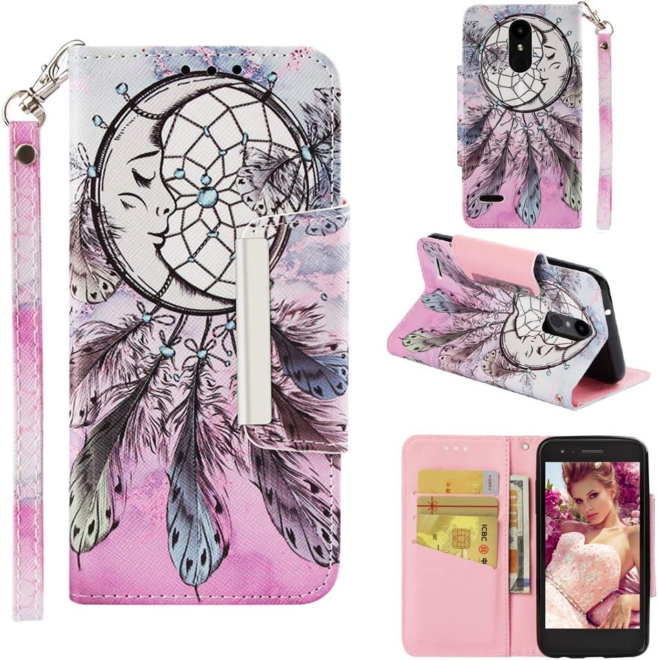 LG Aristo Phone Case,LG LV3 2018 Case,LG Risio 3 Case,LG Aristo 2 Plus Case,LG Phoenix 3 Case,Cute LG Tribute Dynasty Wallet Case with Card Holder Stand Strap Bumper Case for Empire/Rebel 4 LTE/K8/K4